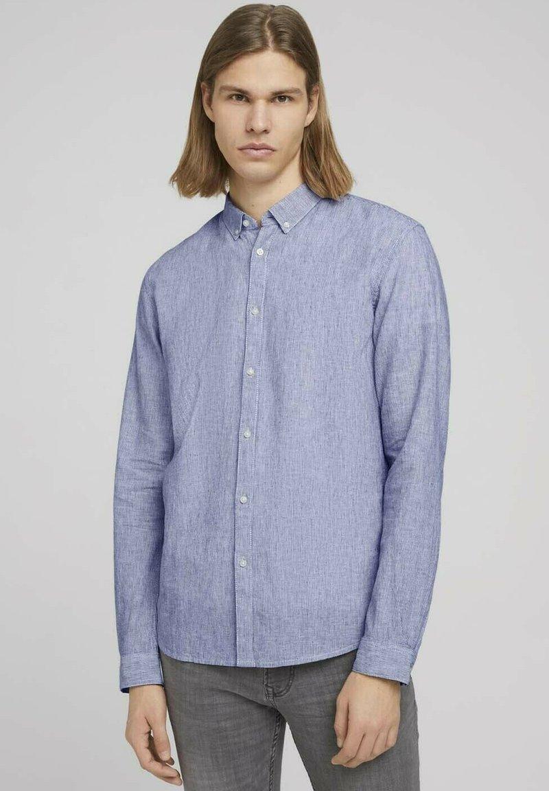 TOM TAILOR DENIM - Shirt - navy white small stripe
