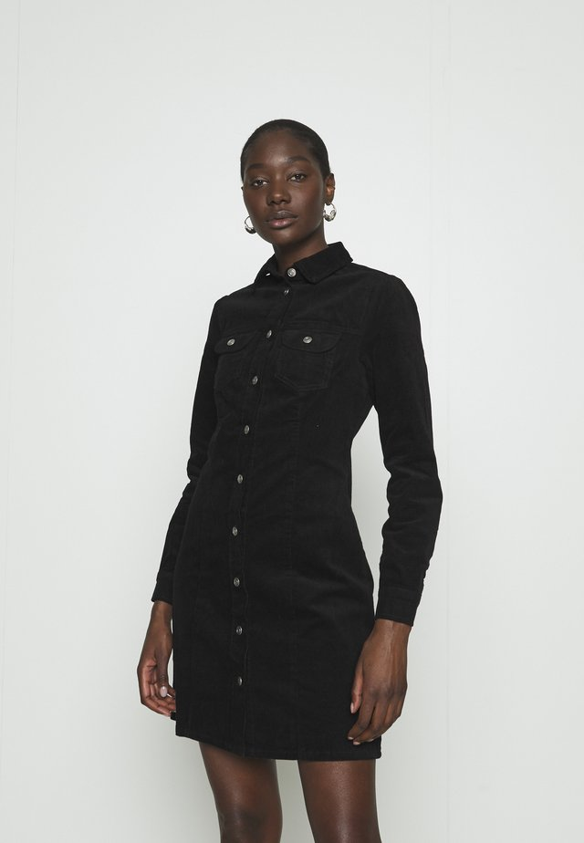 STRUCTURED SHIRT DRESS - Shirt dress - black