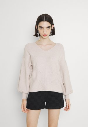 OBJWYTHE - Stickad tröja - silver gray