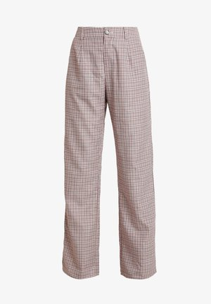 PURPOSEFUL CHECKED SPLIT HEM TROUSERS - Trousers - purple