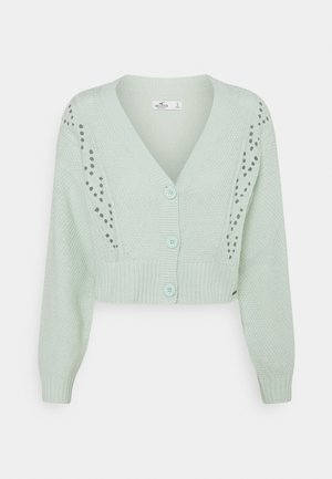 EASY POINTELLE CROP CARDI - Cardigan - aqua