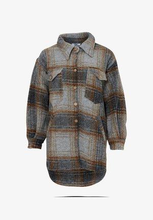 VALLEY - Short coat - brown slash grey