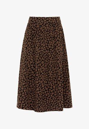 ROCK MIDIROCK MIT MINI-BLÜTENPRINT - A-line skirt - schwarz