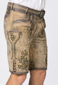 Stockerpoint - WIGGAL - Leather trousers - sand larded/green - 5