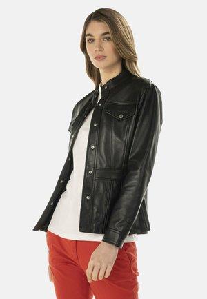 GIUBBINO IN NAPPA CON TAGLI ANATOMICI - Leather jacket - nero