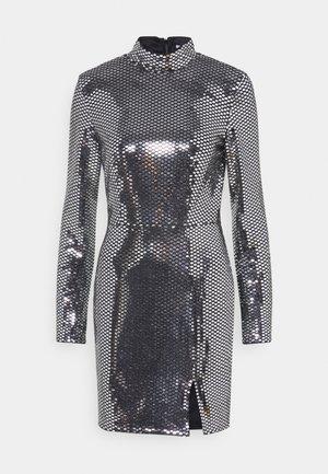 FOIL SEQUIN HIGH NECK MINI DRESS - Cocktailkjoler / festkjoler - black