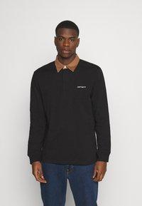 Carhartt WIP - RUGBY POLO - Polo shirt - black/hamilton brown/white - 0