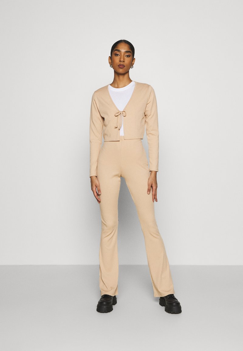 Topshop - FLARE AND TIE FRONT SET - Cardigan - sand