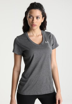TECH - Camiseta básica - carbon heather/metallic silver