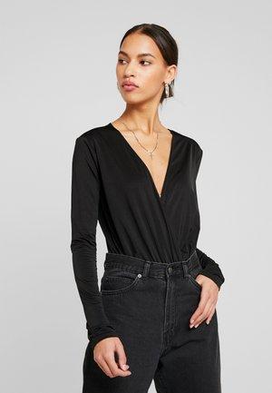 LOW PLUNGE SLINKY BODY - Long sleeved top - black
