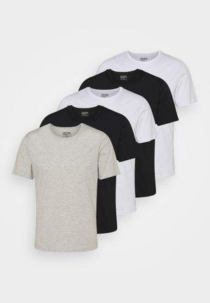 TEE 5 PACK - T-paita - black/white/grey