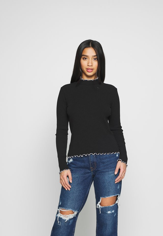 PCARDENA - Long sleeved top - black/white