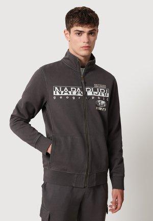 Huvtröja med dragkedja - dark grey solid