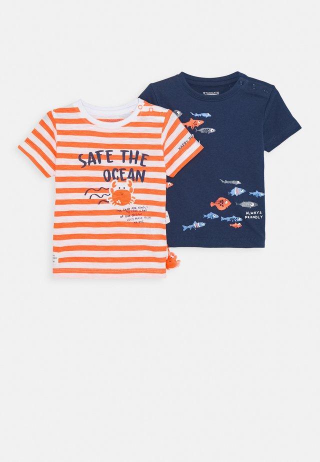 BABY 2 PACK - T-shirt print - orange/dark blue