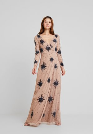 STAR EMBELLISHED WRAP DRESS - Iltapuku - blush/navy