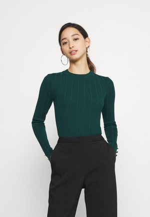 BUTTON CUFF CREW NECK BODY - Stickad tröja - forest green