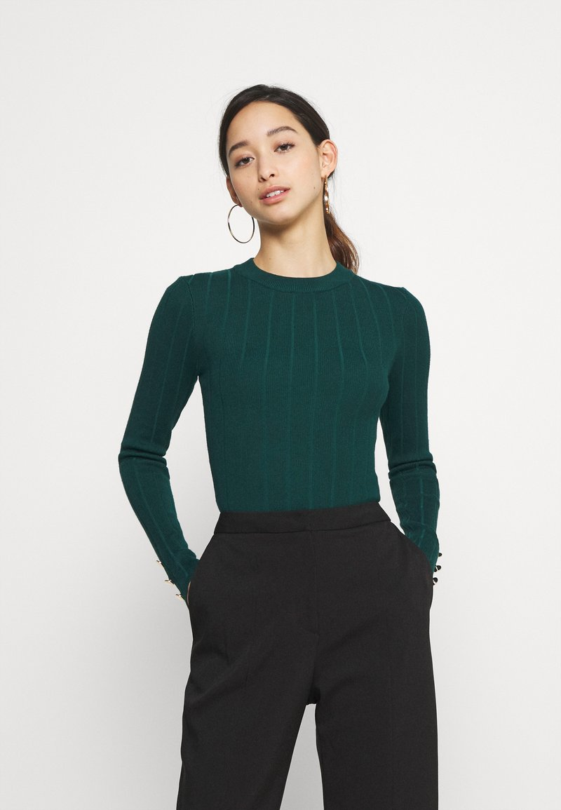 Missguided - BUTTON CUFF CREW NECK BODY - Pullover - forest green