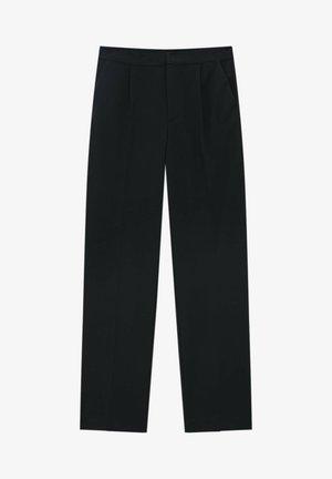 STRAIGHT-FIT MIT BUNDFALTEN - Trousers - mottled black