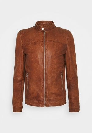 GC ROSTOCK BIKER - Leather jacket - dark cognac
