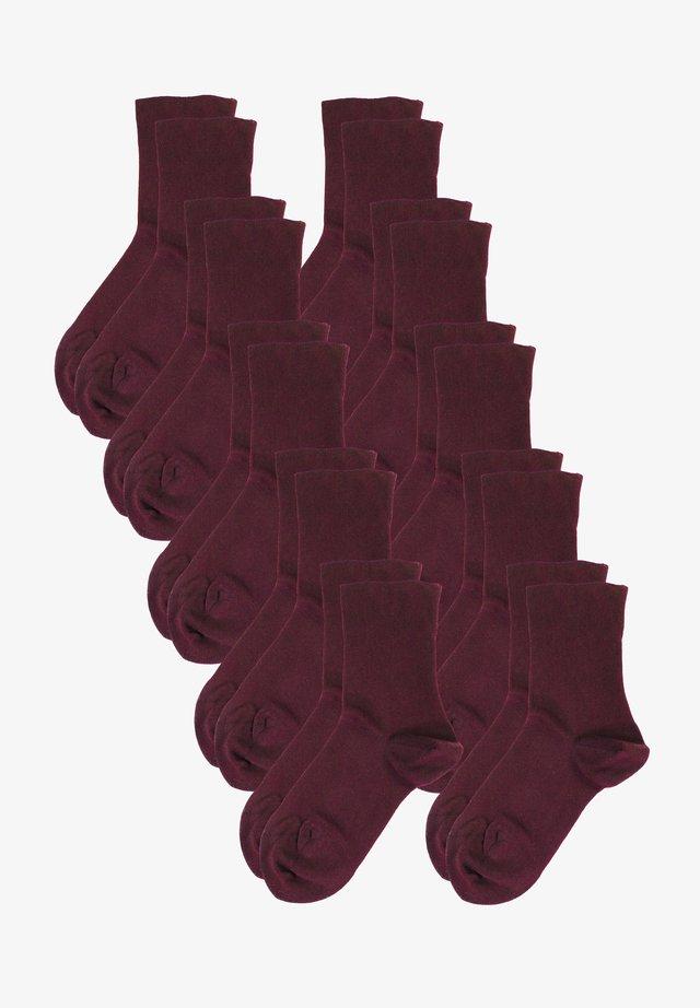 10 PACK - Socks - dunkelrot