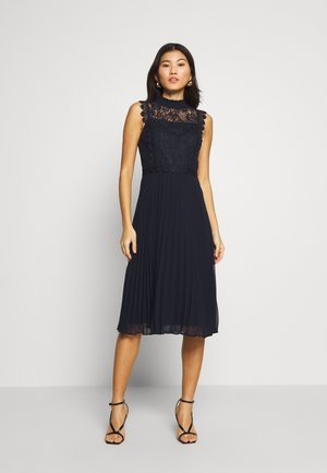 PLEATED MIDI DRESS - Vestido de cóctel - navy