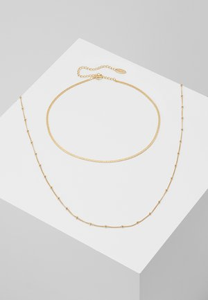 SATELLITE AND FLAT CURB CHAIN SET - Necklace - gold-coloured