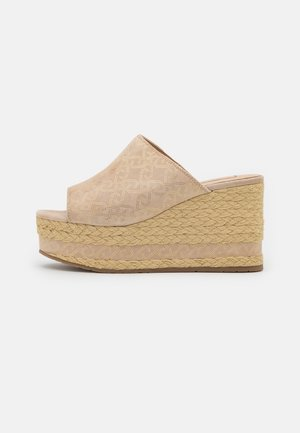 BELLA 6 WEDGE - Heeled mules - camel