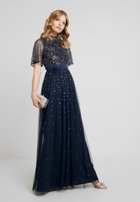 Maya Deluxe - HIGH NECK MAXI DRESS WITH OPEN BACK AND SCATTERED SEQUIN - Galajurk - navy - 2