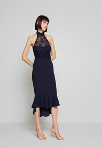 Missguided - DIP MIDI DRESS BRIDESMAID - Jerseykjole - navy - 1