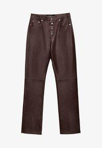 Uterqüe - Leather trousers - bordeaux - 4