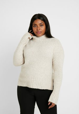 FUNNEL NECK SIDE SPLIT JUMPER - Jumper - oatmeal