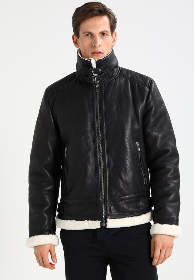 BEANDREW - Leather jacket - black/white