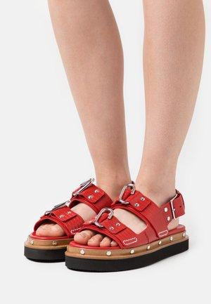 ALIX FLATFORM - Platform sandals - mars red