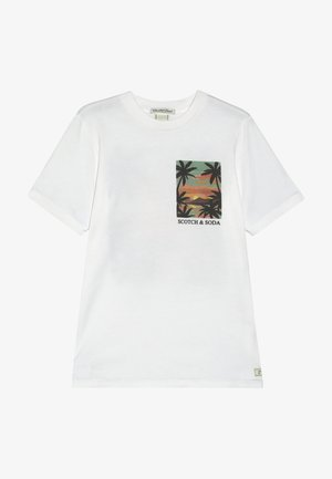 TEE WITH POSTCARD ARTWORK - Print T-shirt - off white