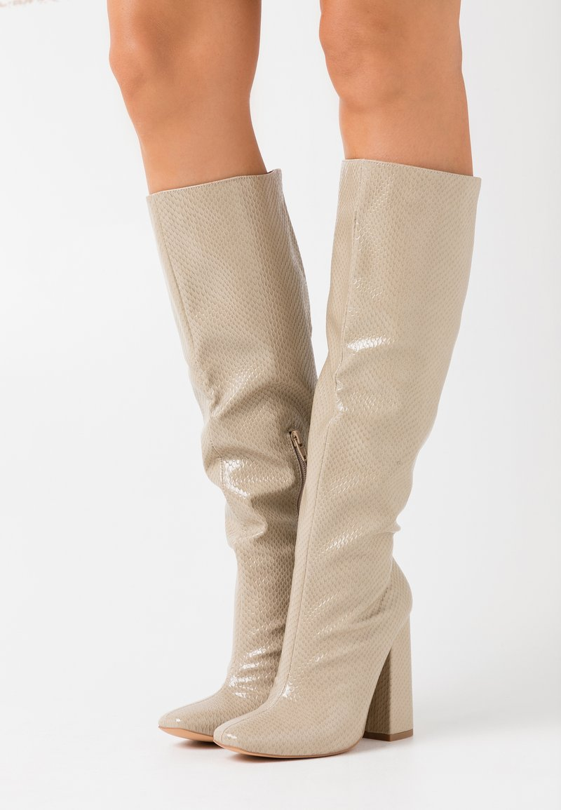 Missguided - TUBULAR BOOT - High heeled boots - taupe