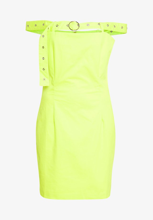 BARDOT DRESS WITH BUCKLE STRAP - Korte jurk - lime
