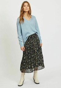 Vila - VIRIL OVERSIZE V NECK - Stickad tröja - ashley blue - 1