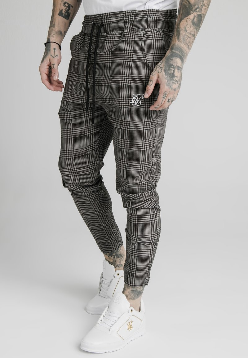 SIKSILK - SMART JOGGER PANT - Trousers - beige dogtooth