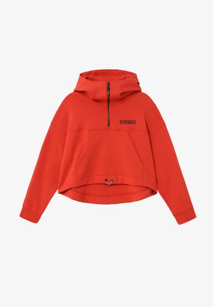 B-OODI HALF ZIP - Bluza z kapturem - orange clay