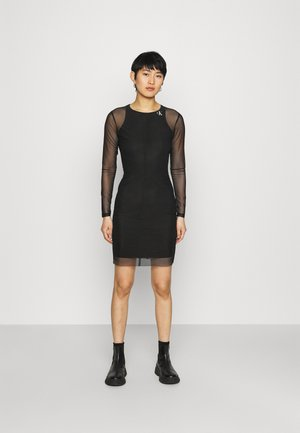 NECK DRESS - Shift dress - black