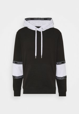 BLOCKING LOGO TAPE HOODIE - Mikina s kapucí - black