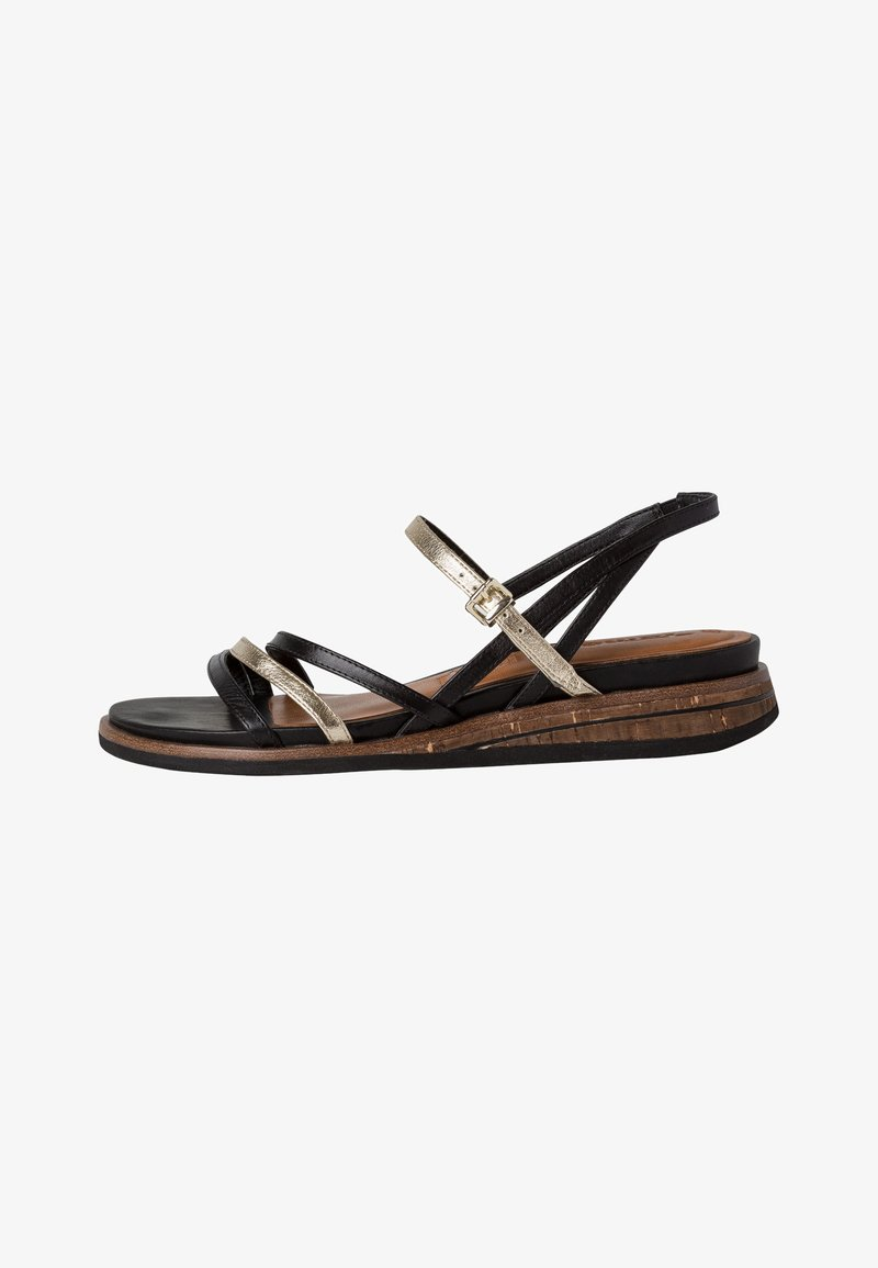 Tamaris - Wedge sandals - black/gold