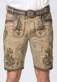 Stockerpoint - WIGGAL - Leather trousers - sand larded/green - 3