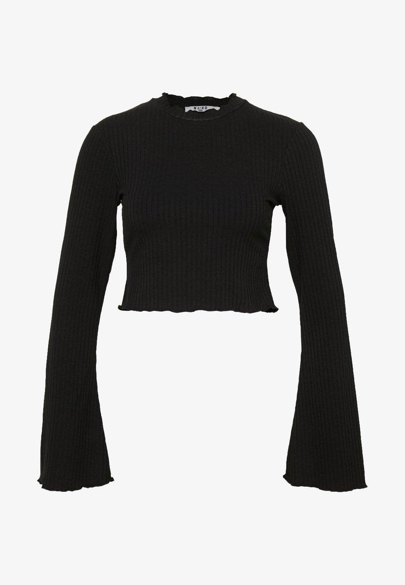 NA-KD - TRUMPET SLEEVE - Long sleeved top - black