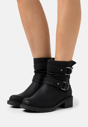 WIDE FIT ARIBA BOOT - Cowboy/biker ankle boot - black