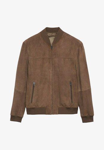GRUS - Leather jacket - marron clair/pastel