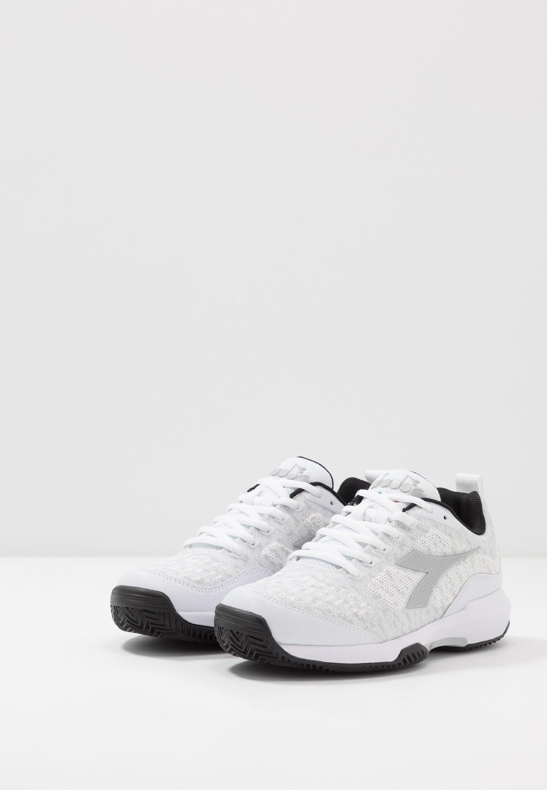 Diadora S.SHOT CLAY - Chaussures de tennis pour terre-battueerre battue - white/silver/black - Chaussures de sport femme En ligne