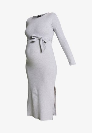 SOFT SPLIT SIDE BELTED DRESS - Trikoomekko - grey