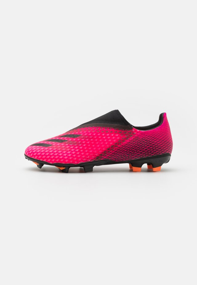 X GHOSTED.3 LL FG - Moulded stud football boots - shock pink/core black/screaming orange