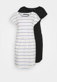 Vero Moda Tall - VMAPRIL SHORT DRESS 2 PACK - Jersey dress - black/snow white/dazzling blue - 0